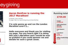 Aaron Renfree is running the 2017 Virgin Money London Marathon for TMADT